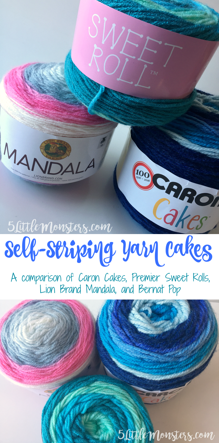 comparison and review of caron cakes, sweet rolls, lion brand mandala and bernat pop
