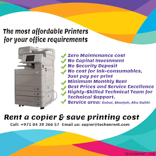 Cost effective printer, photocopier, multifunction printer rental leasing company dubai