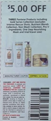 """$5.00 off three Pantene Shampoo or Conditioner Coupon from """"RetailMeNot"""" insert week of 10/4/20."""