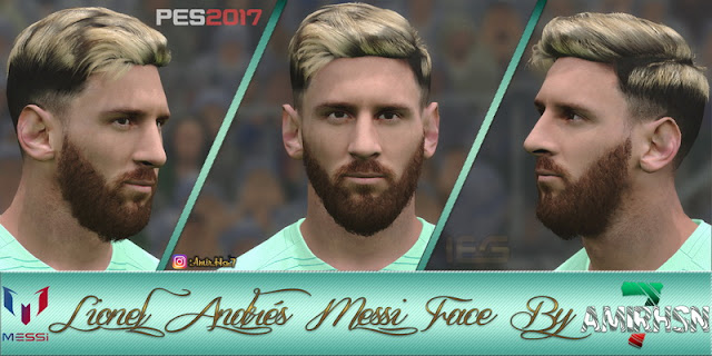 PES 2017 Leo Messi Face by Amir.Hsn7