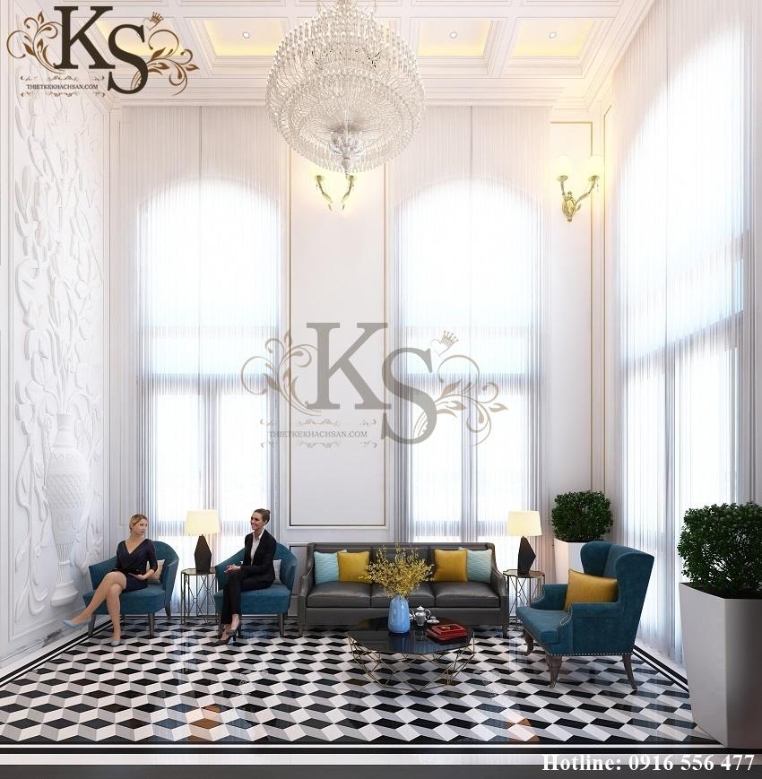 Hình ảnh: Không gian tường trong thiết kế nội thất khách sạn La MaiSon được đắp vẽ bằng các bức phù điêu hình lọ hoa tinh tế và nghệ thuật.