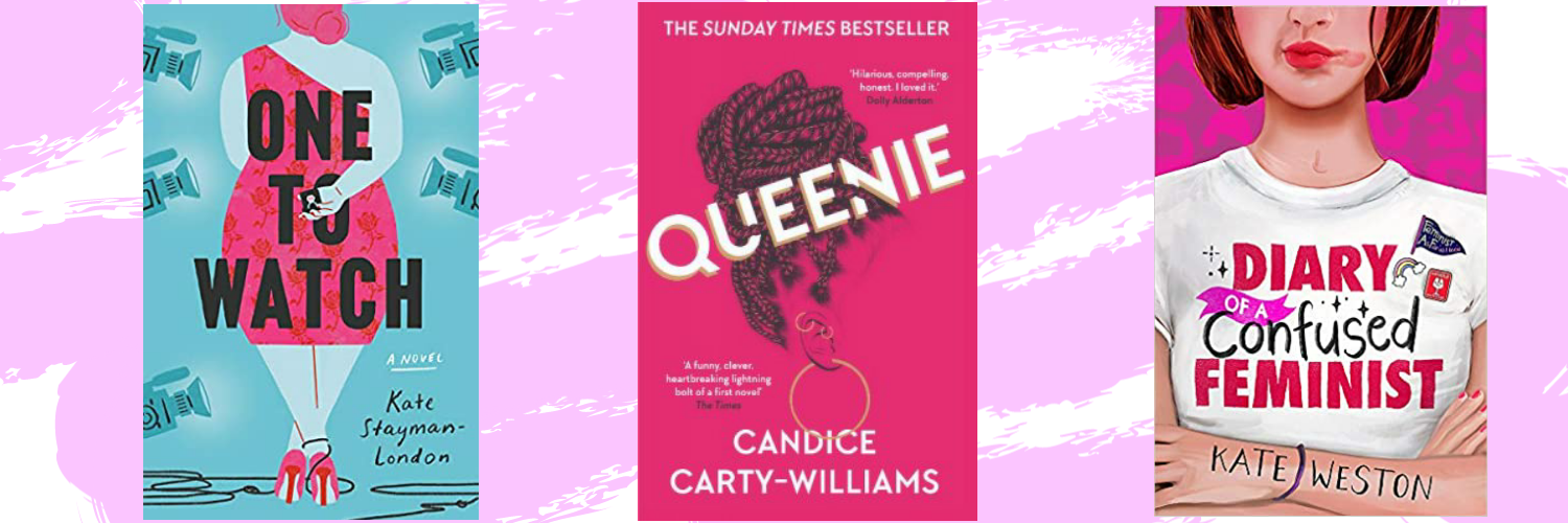 The covers of 3 books, The One to watch, Queenie and Diary of a confused feminist