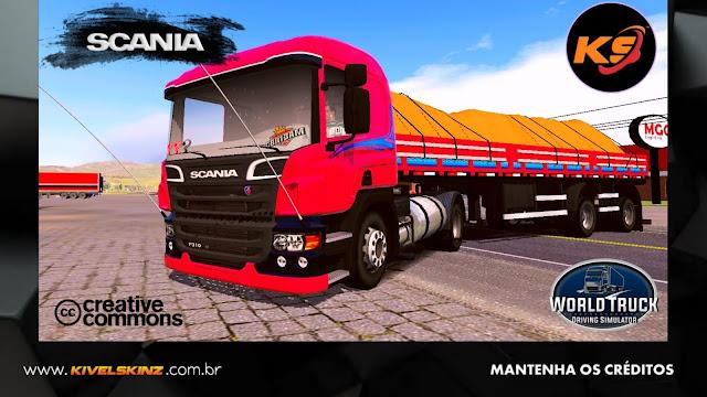 SCANIA P310 - VERMELHA COM FAIXAS AZUIS