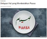 Delapan Hal yang Membatalkan Puasa - Kajian Islam Tarakan