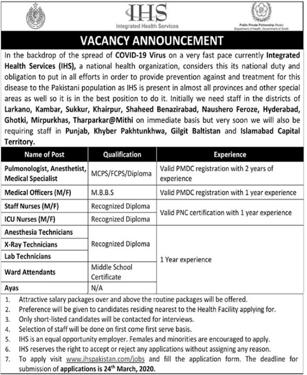 Integrated Health Services IHS Jobs For Medical Staff 2020