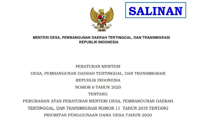 Perubahan atas Peraturan Menteri Desa, Pembangunan Daerah Tertinggal, dan Transmigrasi