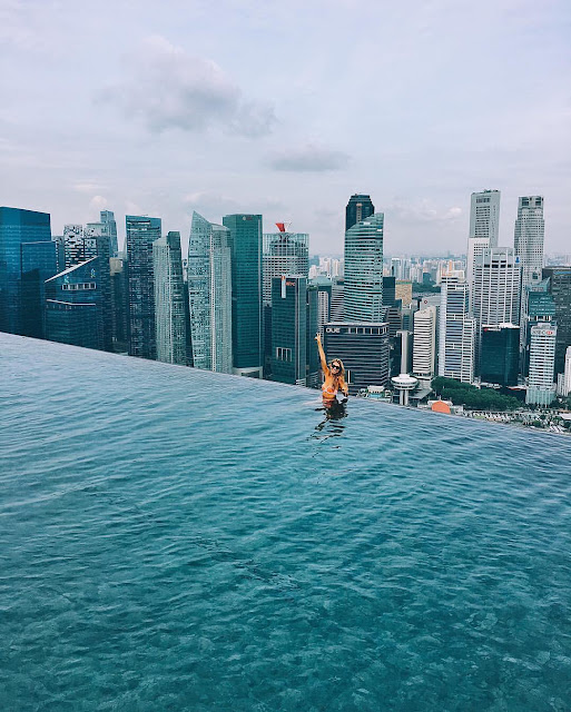 Marina Bay Sands Pool,Beautiful capture of Singapore Infinity Pool