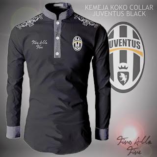 Kemeja Koko Collar Juventus Black