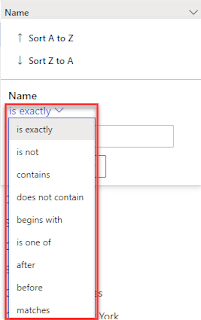 Filtering options in the grid