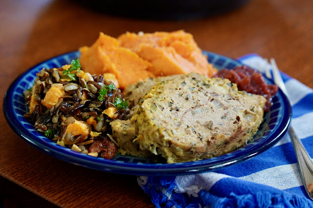 image of turkey and wild rice meatloaf with sweet potatoes and fruited wild rice salad