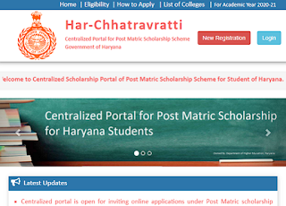 Haryana Scholarship online form 2021 for SC BC students