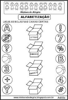 Atividade com números,letras e símbolos