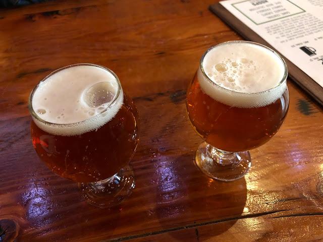 Sampling beer at Hoops.