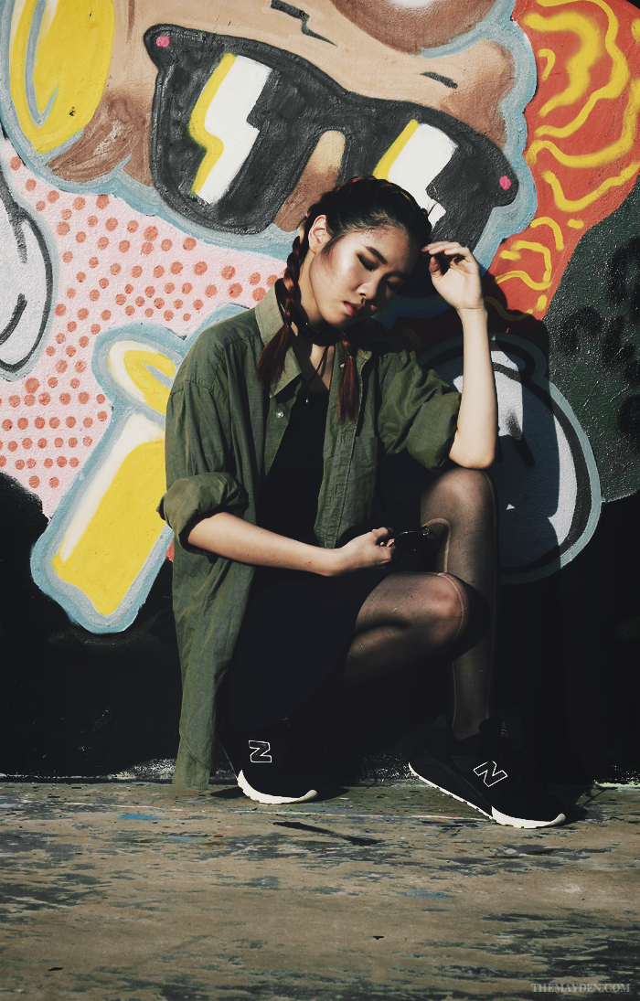 Brunei Style Blogger May Cho collaborates with Revolution | Grunge, Chic, sneakers, New Balance, MRT580BV, rounded sunglasses, skater skirt, crop top, khaki, oversized, ripped tights, street style, fashion, The Mayden, Brunei Skate Park