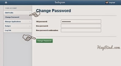 Mengganti password instagram di komputer