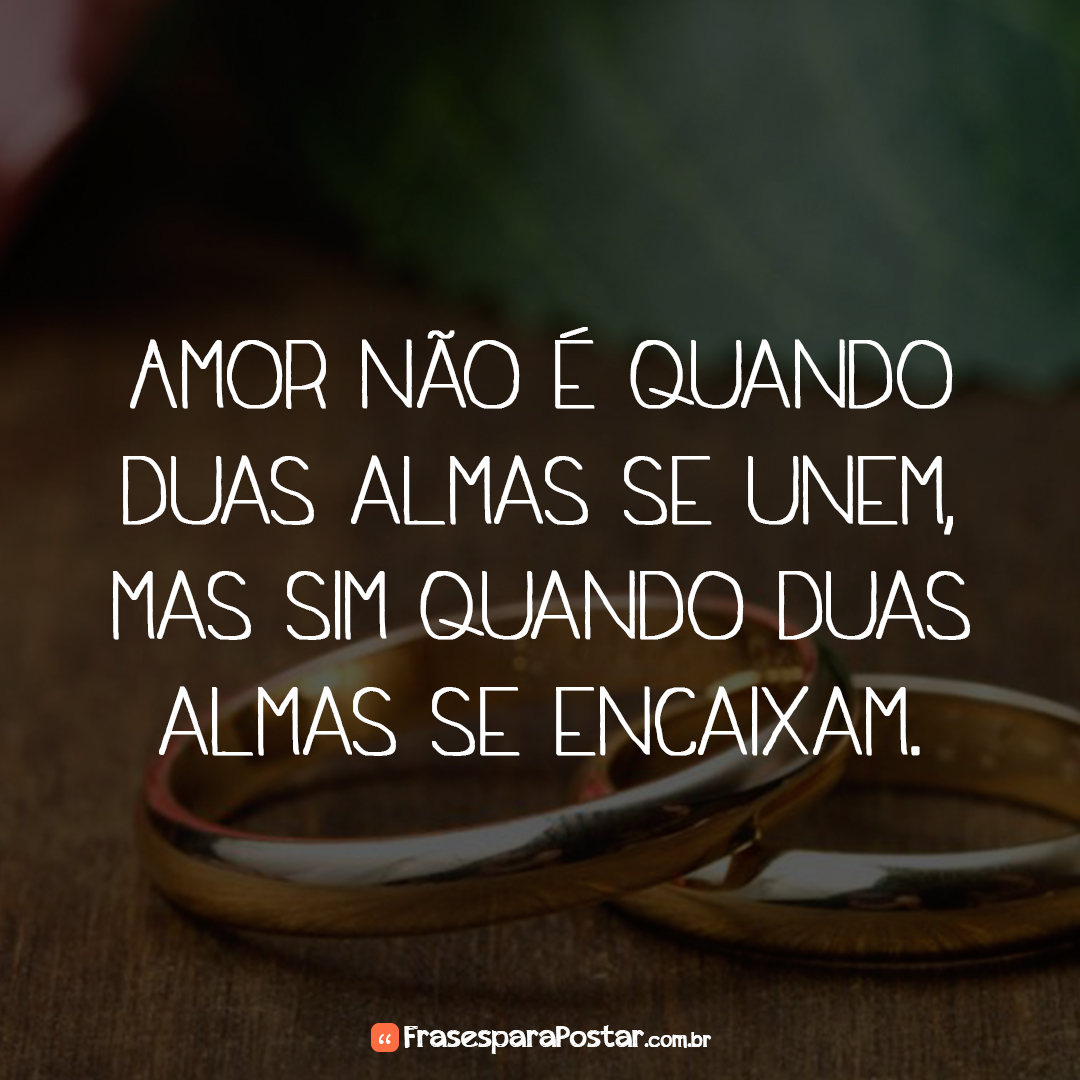 Amor não é quando duas almas se unem, mas sim quando duas almas se encaixam.