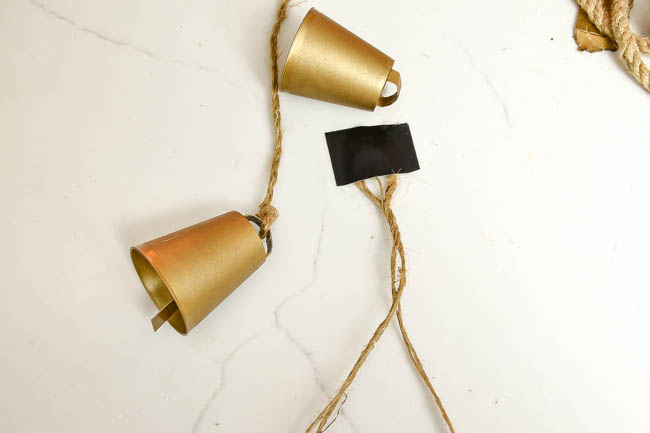 Adding jute twine to DIY brass bells