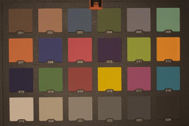Karta kolorów oświetlona bocznym emiterem latarki Lumintop EDC05C (balans bieli ręczny 5000K)