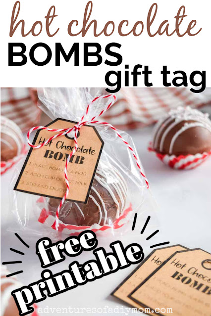 hot chocolate bomb packaged with a gift tag