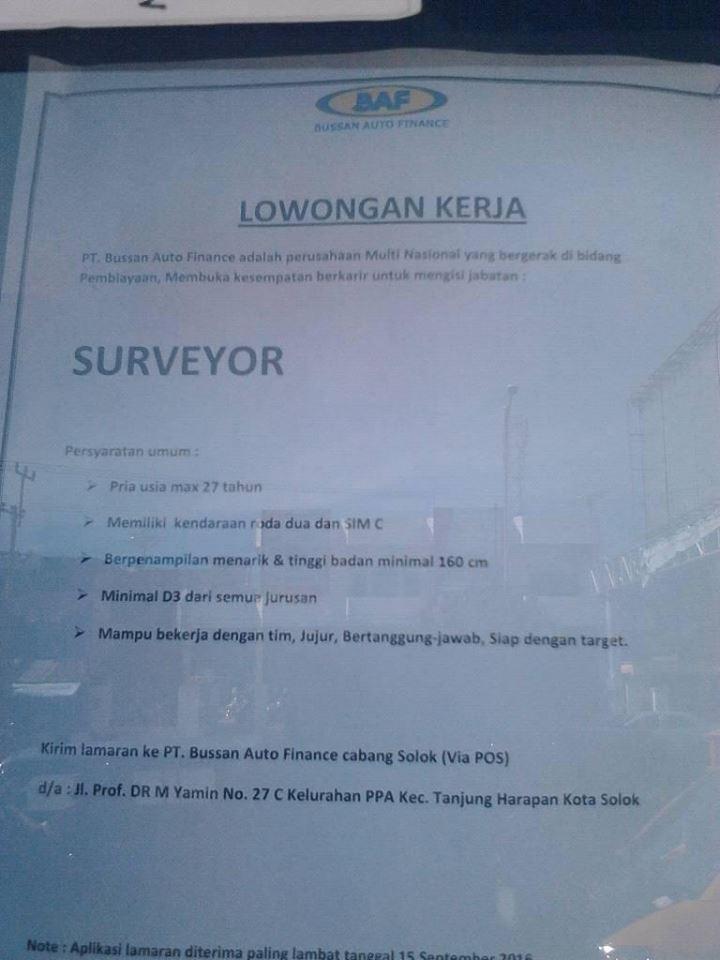 Lowongan Kerja di Solok – PT.Bussan Auto Finance – Surveyor (Penutupan 15-9-2016)