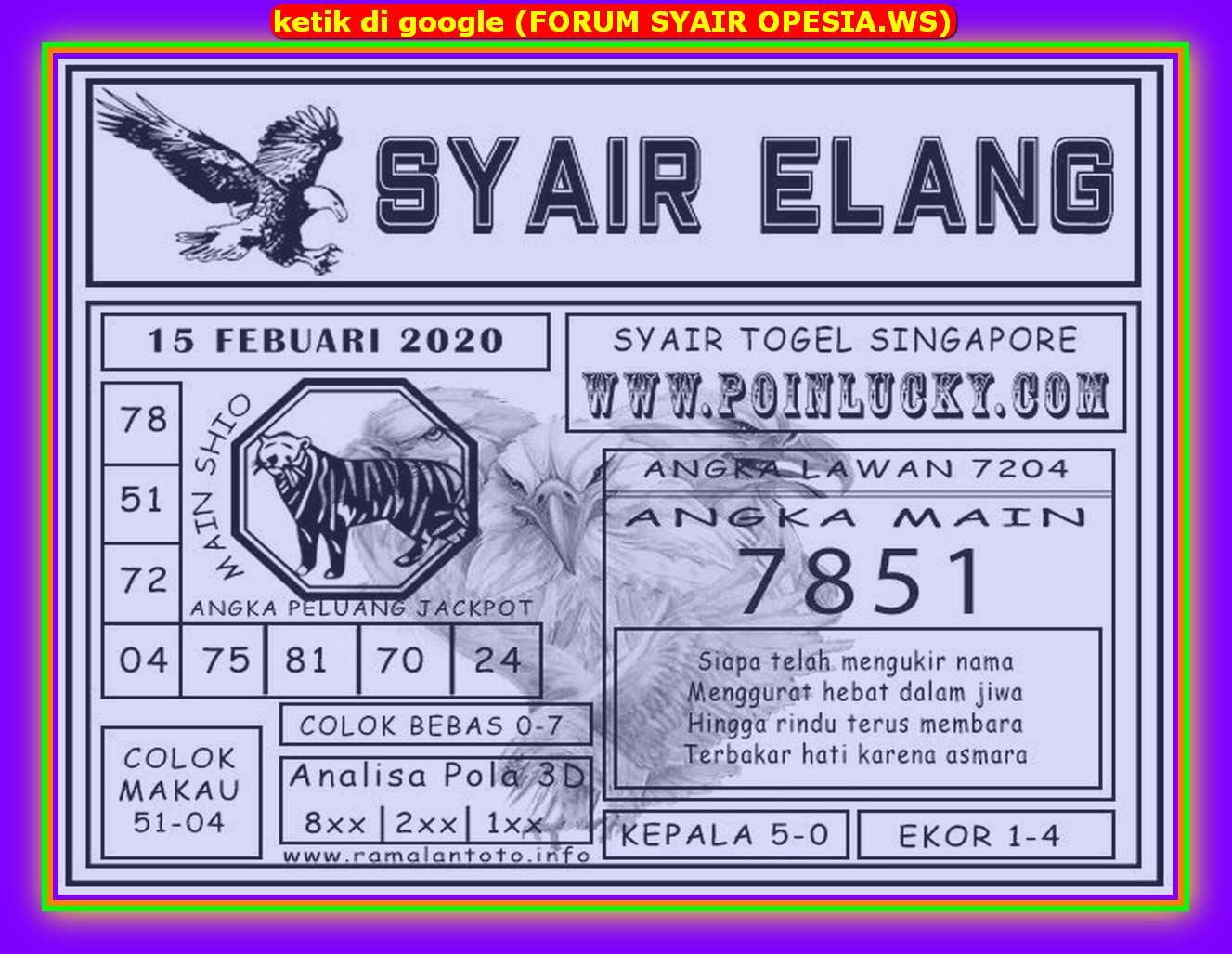 Kode syair Singapore Sabtu 15 Februari 2020 143