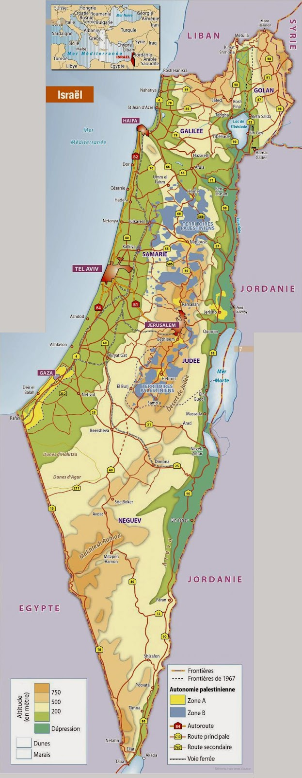 Carte Israël et Territoires Palestiniens