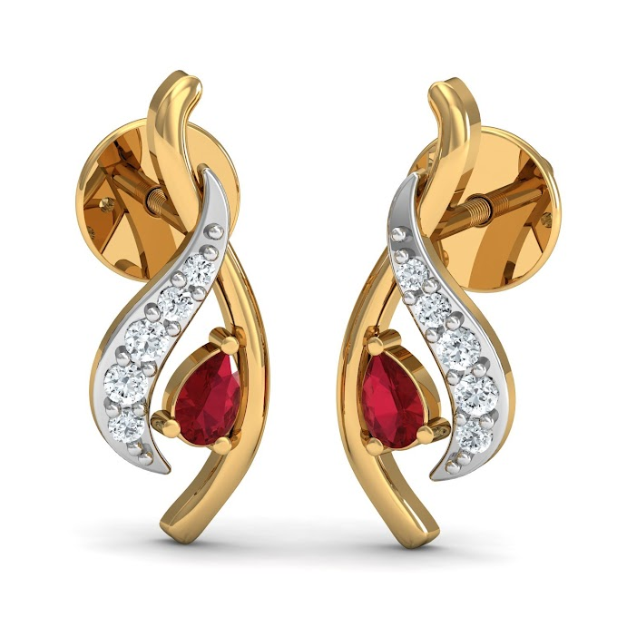 Dishis Designer Jewellery 14k (585) Yellow Gold, Diamond and Garnet Gold, Diamond Designer Earrings Drop Earrings for Women