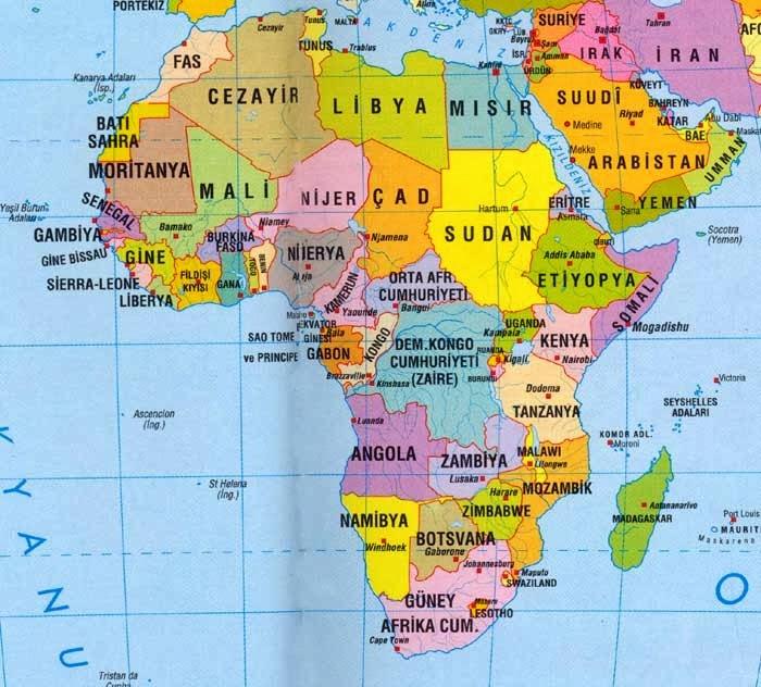 Afrika Ülkeleri Haritası, Bütün Afrika ülkelerinin bir arada olduğu harita