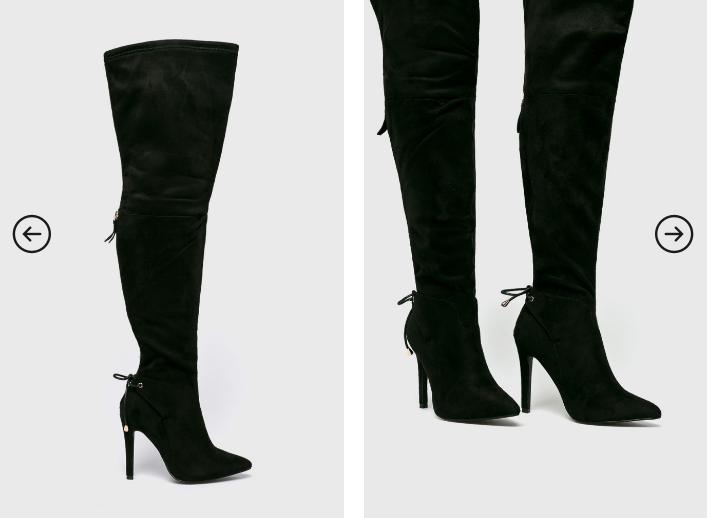 Truffle Collection - Cizme elegante inalte pana la genunchi negre piele intoarsa