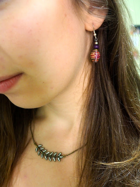 New Addition | outfit jewellery details of purple bead earrings and jewelled fern leaf necklace