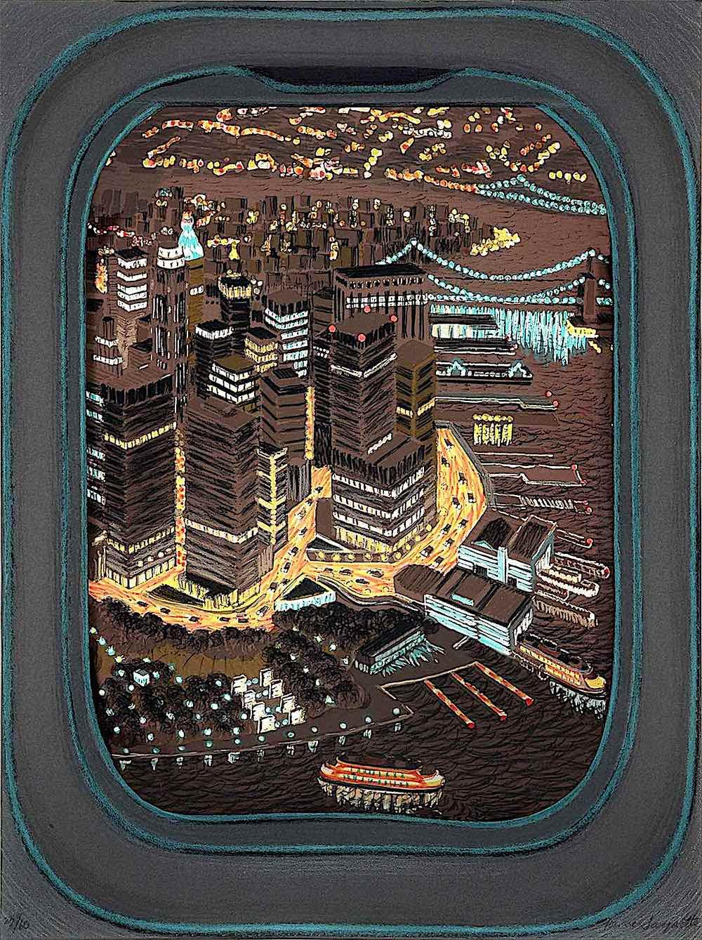 Yvonne Jacquette art, a city at night seen through a passenger jet window