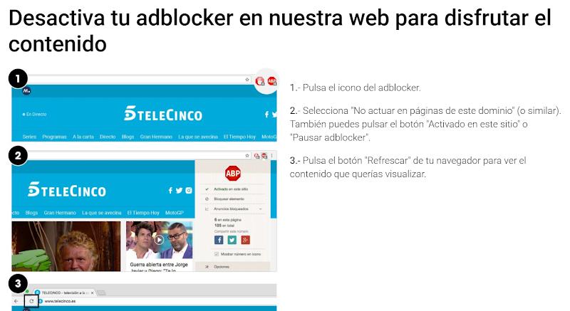 Quitar Anuncios de Telecinco.es con AdBlock - Eliminar Publicidad de Telecinco.es y cuatro.com - Quitar Publicidad Molesta