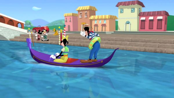 help Goofy and Clarabelle by getting that gondola back to the landing!