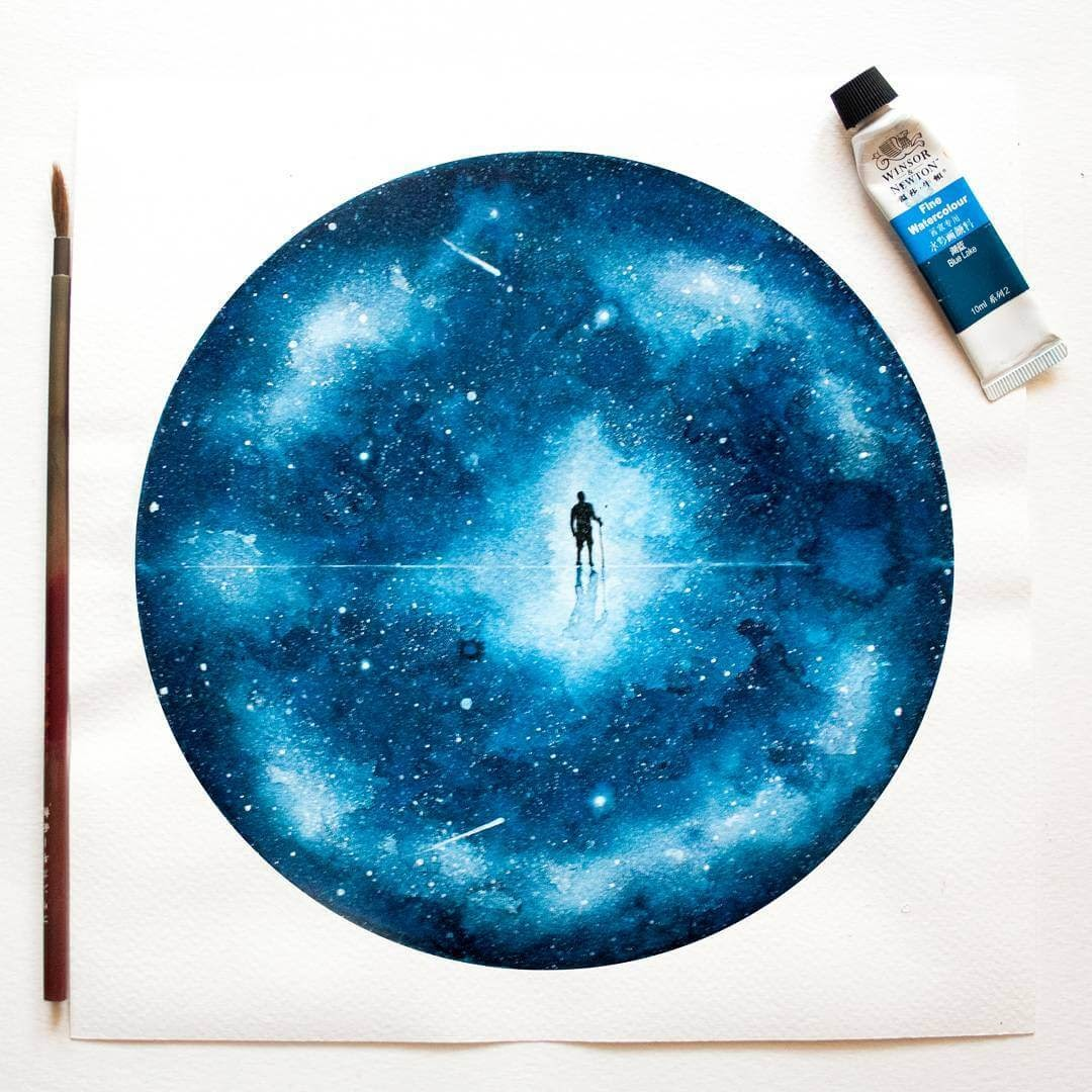13-Waking-Up-02-Journey-Prakersh-Blue-and-Round-Fantasy-Watercolor-Paintings-www-designstack-co
