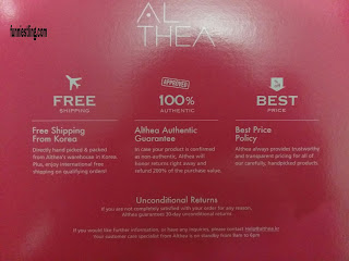 keterangan pada box ALTHEA KOREA