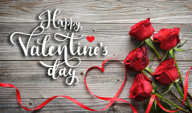 Valentine's Day  red roses ribbon wooden background Image