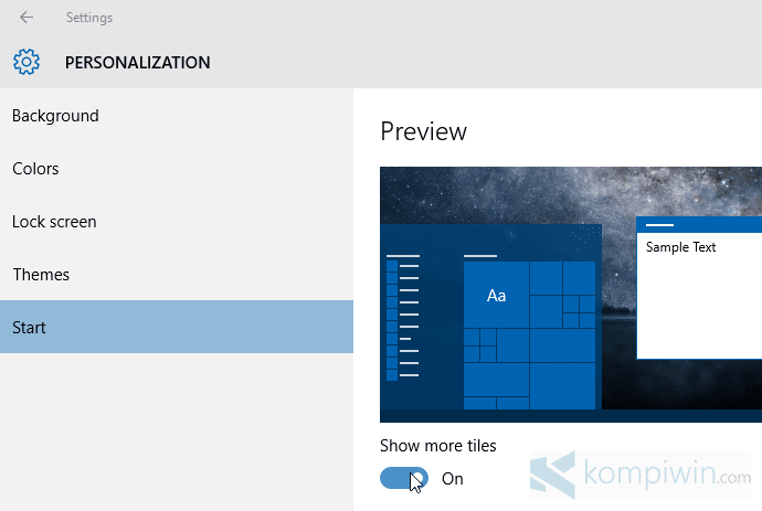 windows 10 cara menambah kolom tiles