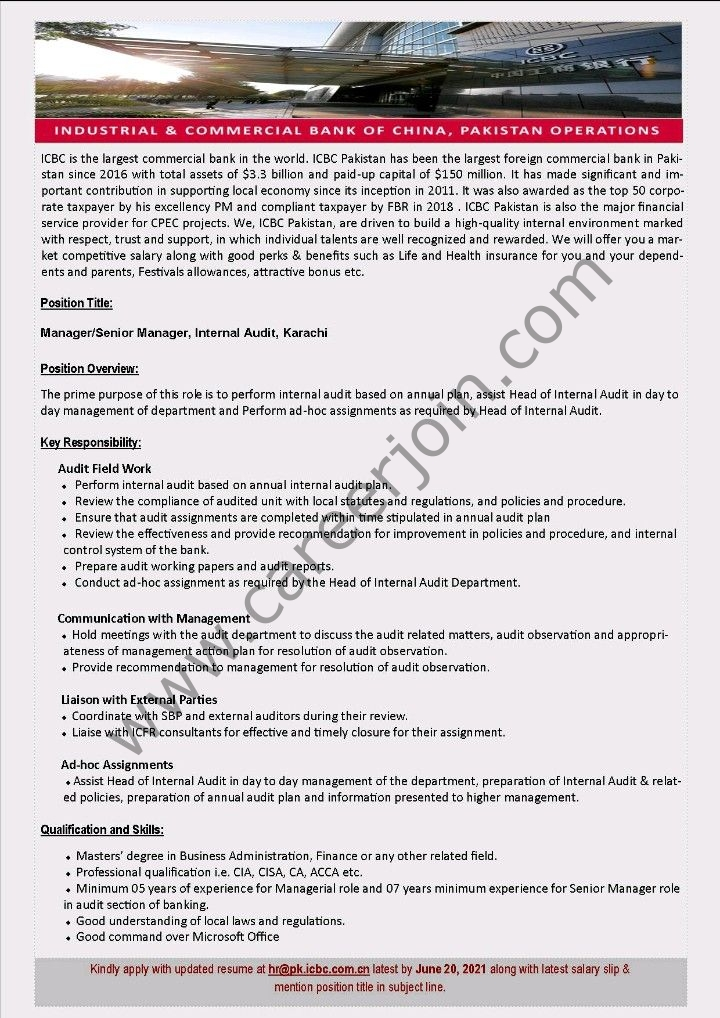 hr@pk.icbc.com.cn Jobs - Industrial & Commercial Bank of China Ltd ICBC Jobs 2021 in Pakistan