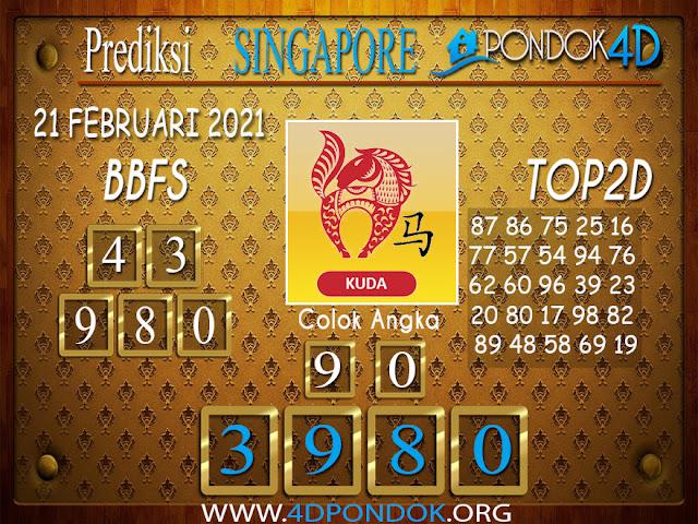 Prediksi Togel SINGAPORE PONDOK4D 21 FEBRUARI 2021