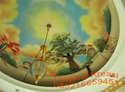 jasa pembuatan lukis dinding, mural, lukis dinding jakarta, lukis dinding bekasi, lukis awan, lukis dome, lukis plafon