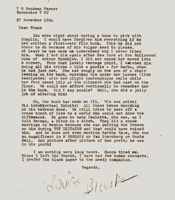 stars and letters a bone to pick chaplin louise brooks wrote the following letter about charlie chaplin to frank a friend on 27 1964 the letter is quite vicious and makes for a