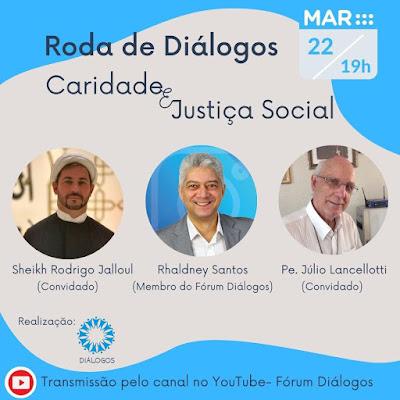 Caridade e Justiça social temática a ser refletida pelo Fórum da Diversidade Religiosa de PE, em Live