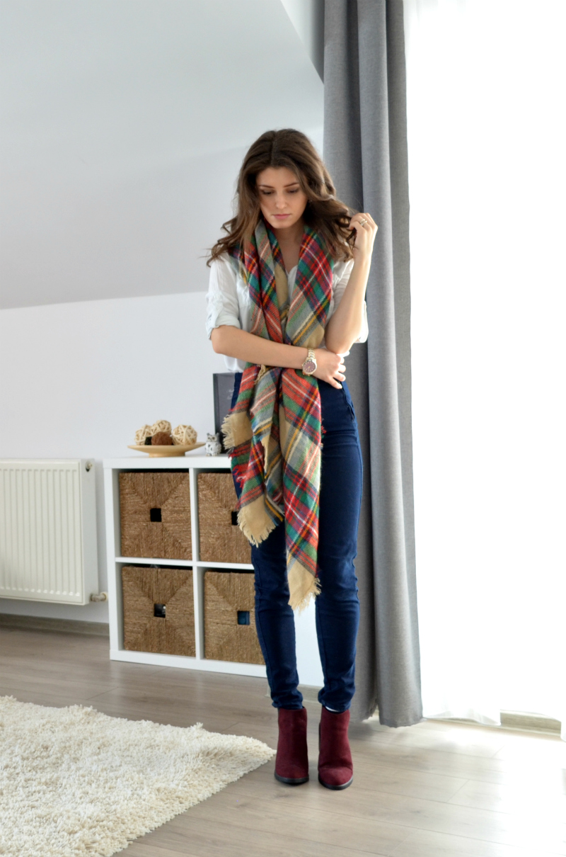 blanket scarf outfit with jeans and burgundy ankle boots