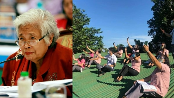 Briones hits teachers who climbed on rooftop looking for signal