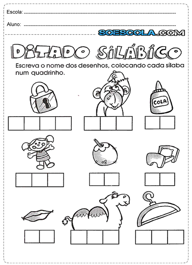 Atividades De Silabas Para Alfabetizacao So Escola