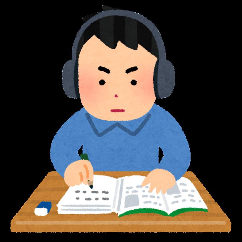 ヘッドホンをして勉強をする人のイラスト(男性) | かわいいフリー ...