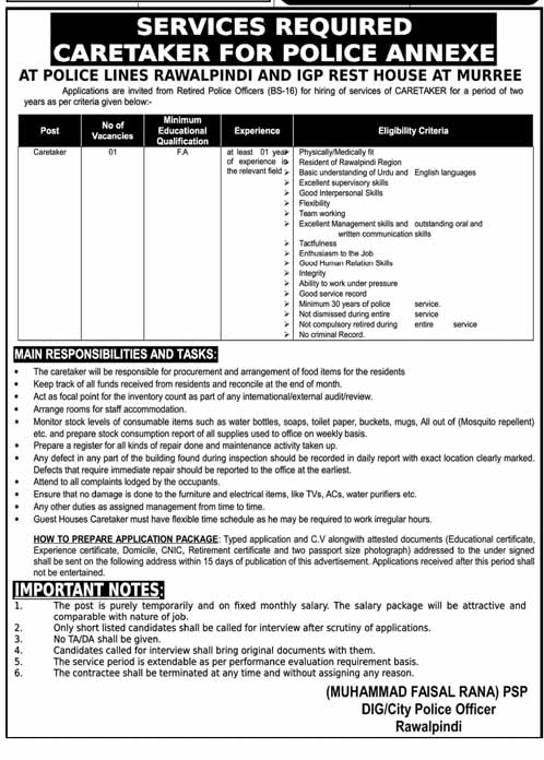 Caretaker Jobs in Police Lines Rawalpindi
