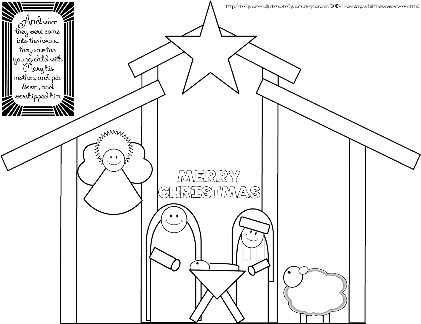 HollysHome - Church Fun: A Manger Christmas Card To Color ...