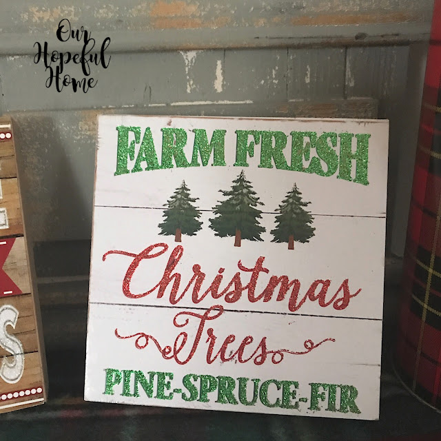 wooden Christmas sign faux shiplap pine trees