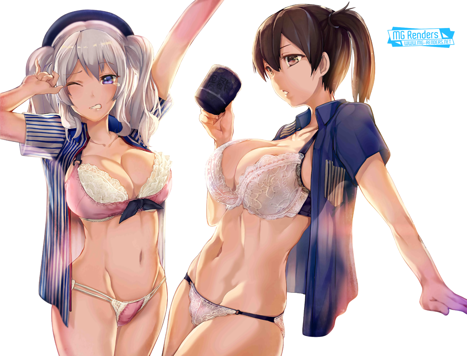 Tags: Anime, Render,  Huge Breasts,  Kaga,  Kantai Collection, Kancolle, 艦隊これくしょん,  Kashima,  Side tail,  PNG, Image, Picture